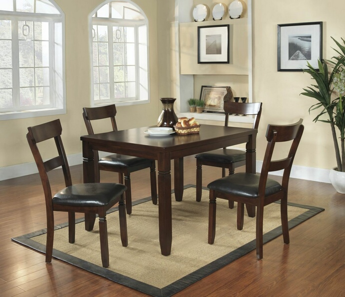 HE-2469 5 pc Oklahoma collection espresso finish wood dining table set with upholstered seats