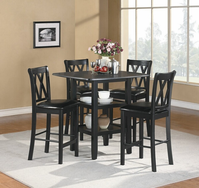 HE-2514BK-36 5 pc norman collection black finish wood counter height dining table set with upholstered seats