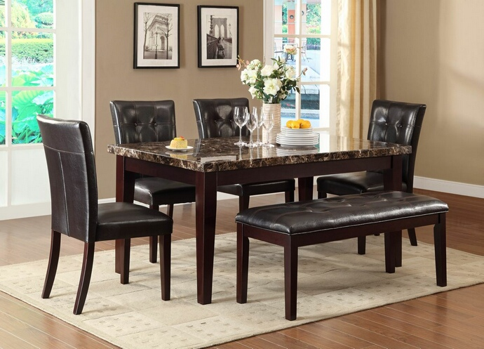 HE-2544-64 6 pc Teague collection espresso finish wood and faux marble top dining table set with upholstered seats