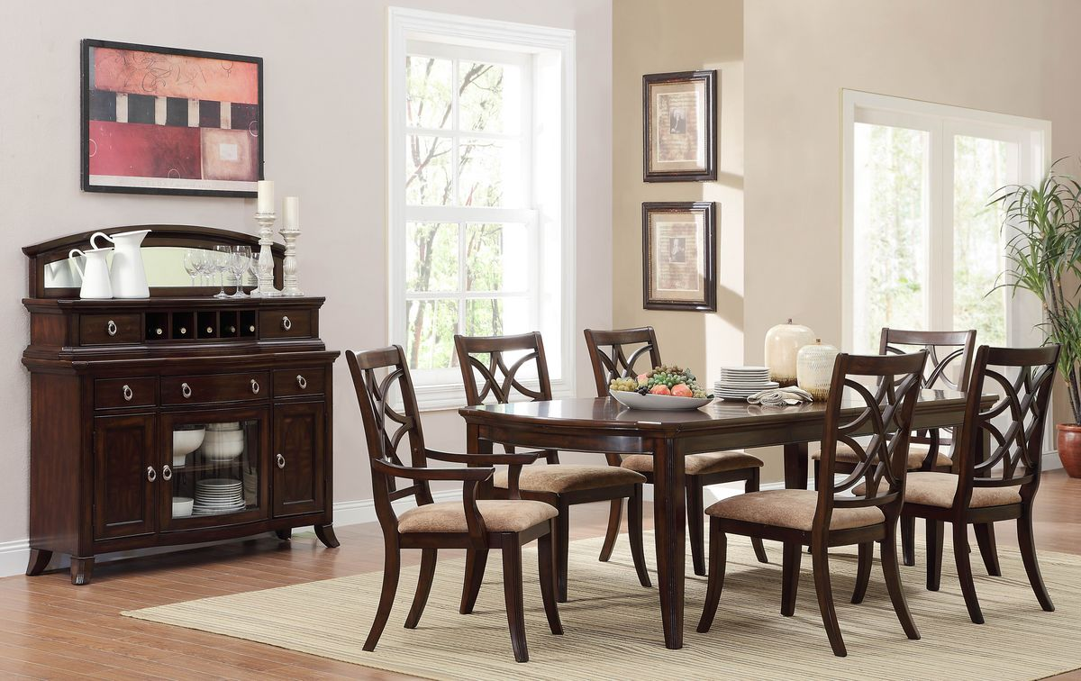HE2546-96 7 pc Keegan collection traditional style rich brown cherry finish wood dining table set