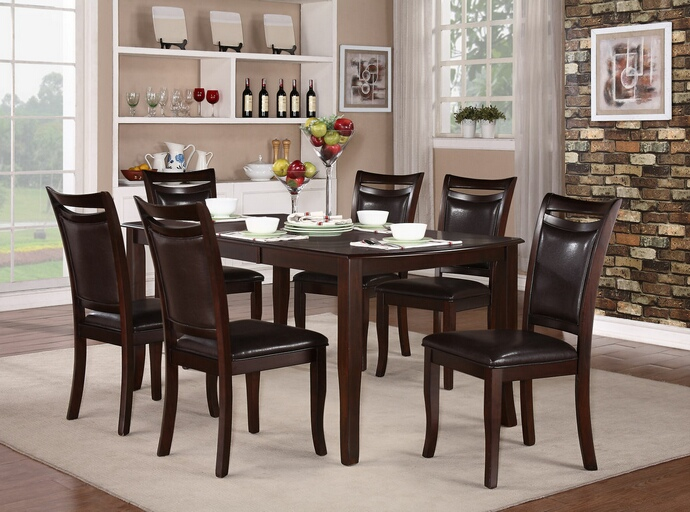 HE-2547-72 7 pc Maeve collection dark cherry finish wood dining table set with upholstered seats