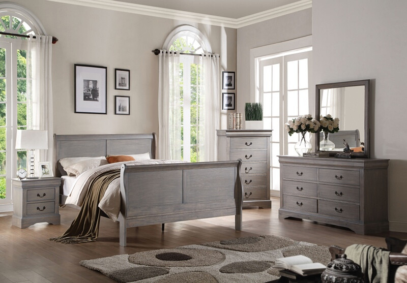 ACM25500Q 5 pc Louis Philippe III Collection antique gray finish wood queen sleigh bedroom set with curved ends