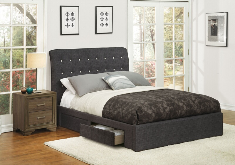Acme 25680q Drorit Dark Gray Fabric Tufted Under Bed Storage Drawers