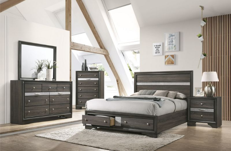 5 pc Naima gray finish wood panel queen bedroom set