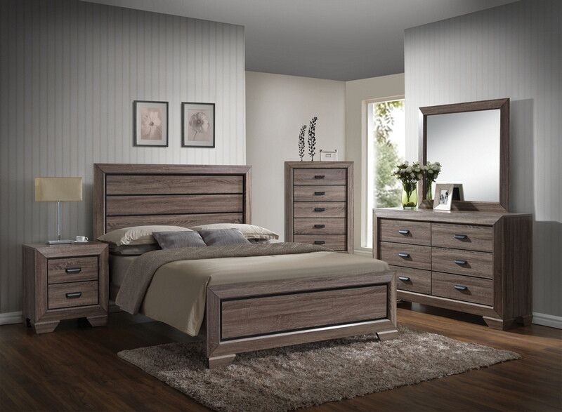 ACM26020Q 5 pc Lyndon collection weathered gray grain finish wood queen bedroom set