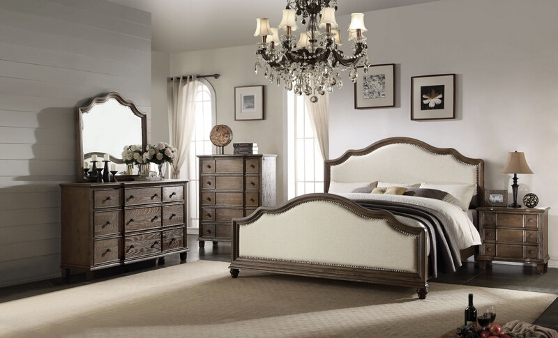 ACM26110Q 5 pc Baudouin collection weathered oak finish wood queen bedroom set with beige linen