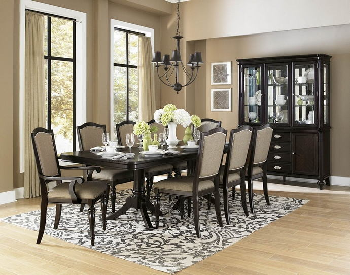 HE-2615DC-96 7 pc Marston collection dark cherry finish wood dining table set with fabric padded seats and backs
