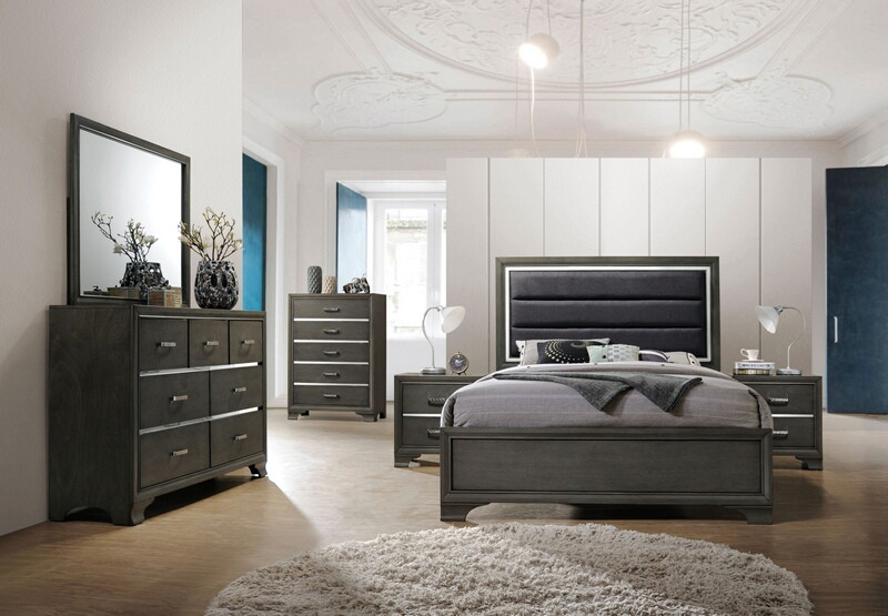 Acme 26260Q 5 pc Carine II gray finish wood and fabric queen bedroom set
