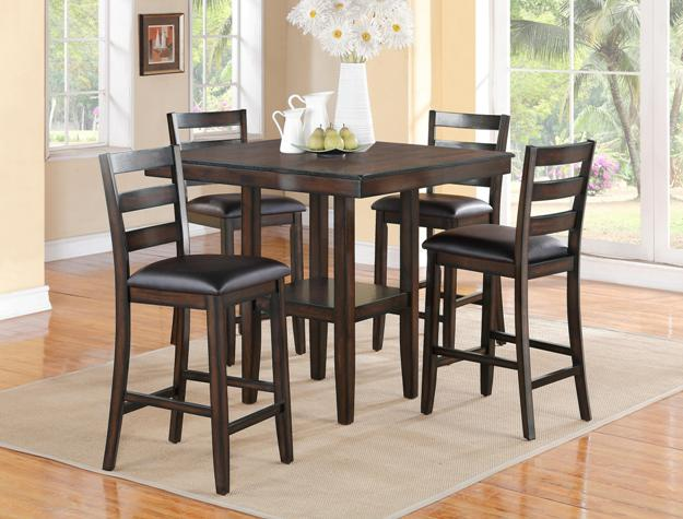 CM2630SET 5 pc Gracie oaks tahoe brown finish wood counter height dining table set
