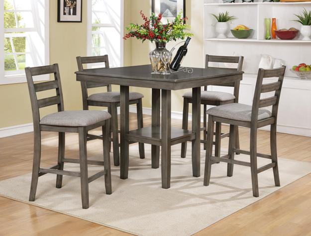 Cm2630set Gy 5 Pc Grey Brown Finish Wood Counter Height Dining Table Set