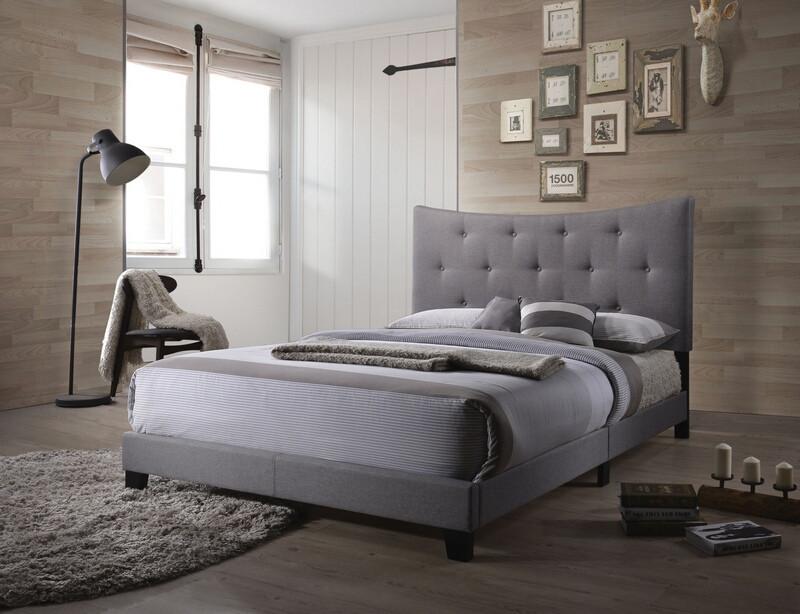 Acme 26360Q Venacha gray fabric tufted queen bed set