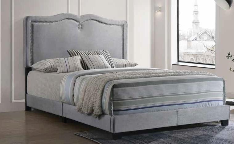 Acme 26420Q Reuben gray velvet tufted queen bed frame set