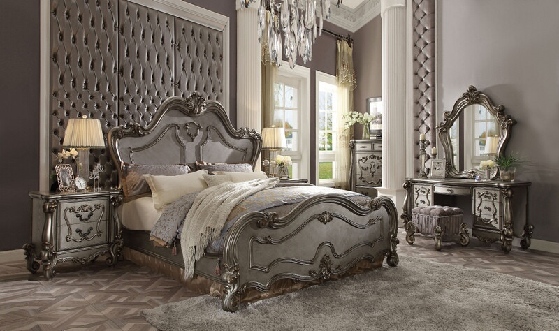 Acme 26860Q 5 Pc Versailles Antique Platinum Finish Wood Queen Bedroom Set  Decorative Carvings Tufted Accents