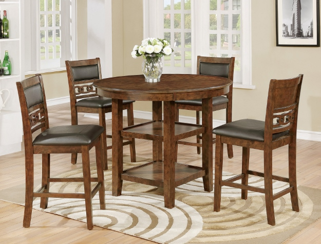 Crown Mark CM2716T 42 5 Pc Cally Brown Finish Wood Counter Height Round  Dining Table Set With Shelves