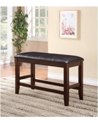 Fulton collection brown wood finish counter height dining bench
