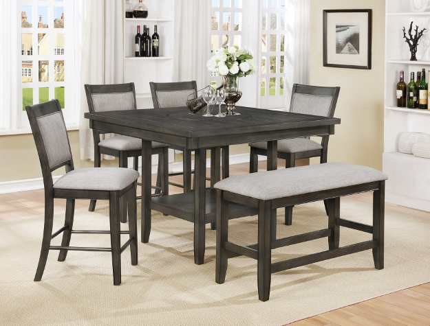 2727GY-6PC 6 pc Gracie oaks fulton grey wood finish counter height dining table set with lazy susan