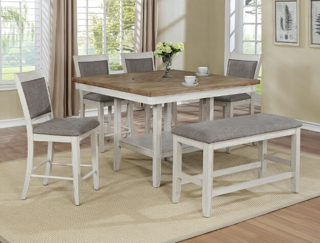2727wh T 4848 6 Pc Gracie Oaks Fulton Two Tone Finish Wood Counter Height Dining Table Set Fabric Seats