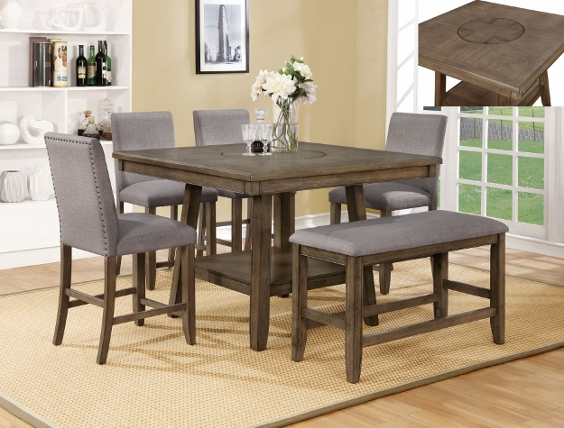 CM2731T-4848 6 pc Gracie oaks manning brown finish wood counter height dining table set with grey chairs