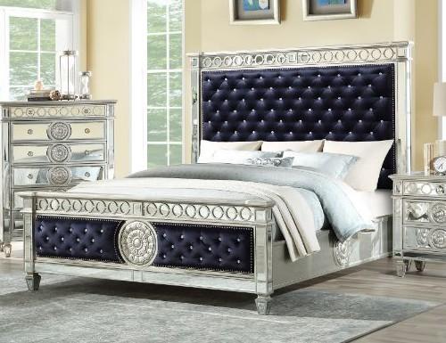 Acme 27350Q Rosdorf park elginpark black velvet silver mirrored finish wood queen bed