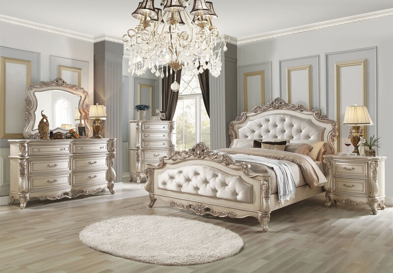 Acme 27440q 5 Pc Gorsedd Antique White Finish Wood Queen Bedroom