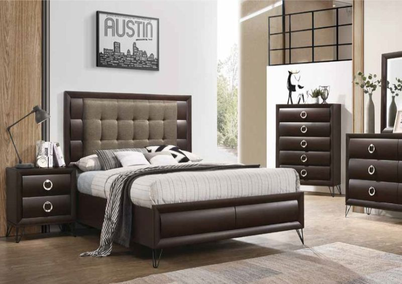 5 pc Tablita dark merlot finish wood fabric padded queen bedroom set