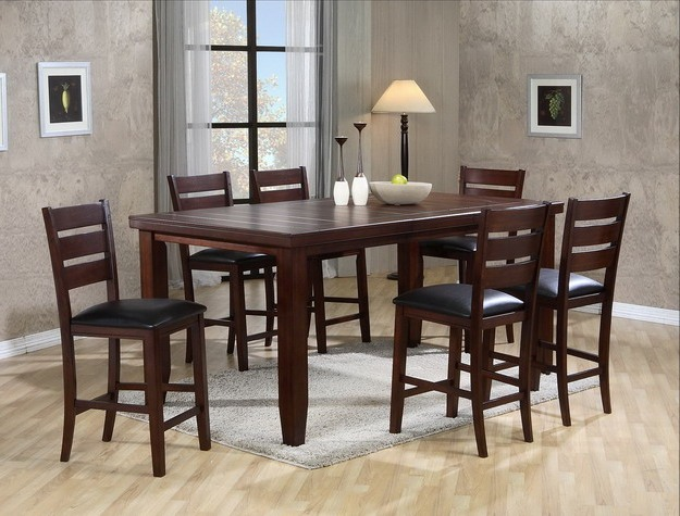 Crown Mark 2752T 4278 7 Pc Bardstown Brown Finish Wood Counter Height Dining Table Set