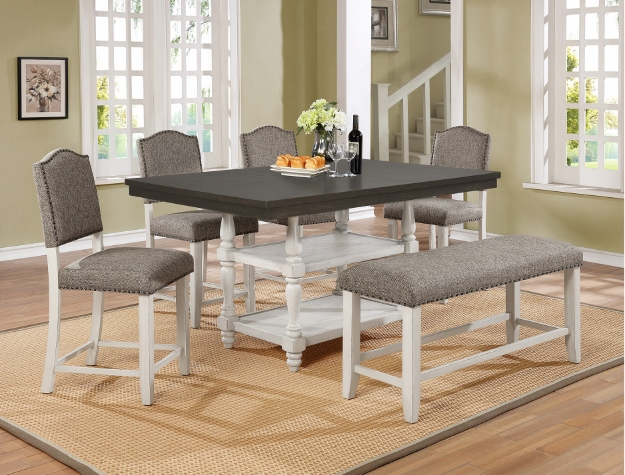 2765T-4266 6 pc Gracie oaks clover weathered two tone finish wood counter height dining table set