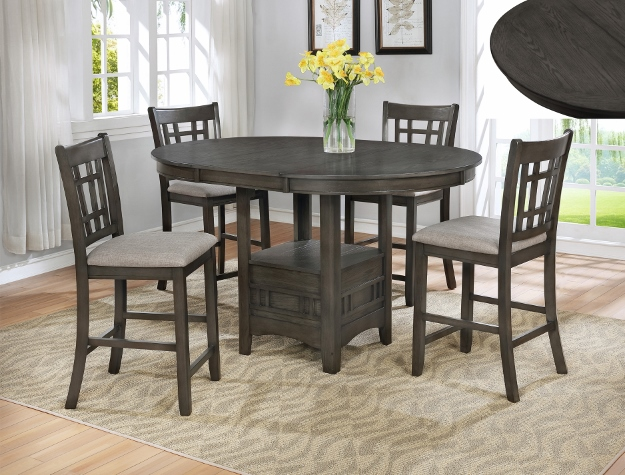 Beau Crown Mark CM2795GY T 4260 5 Pc Hartwell Grey Finish Wood Counter Height  Oval Dining Table Set