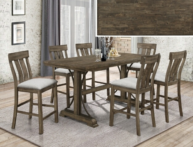 2831T-3671 7 pc Gracie oaks quincy medium finish wood counter height dining table set