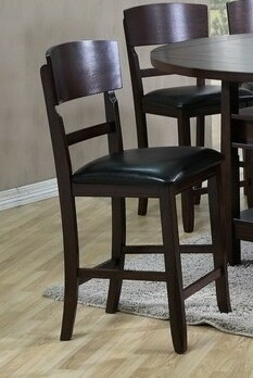 2849C Set of 2 dark wood finish counter height bar stools with vinyl padded seats