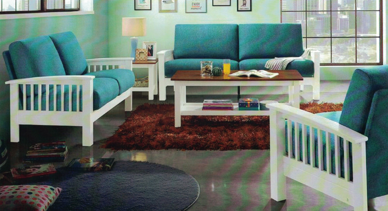 2 pc white finish wood arm sofa and love seat set with blue fabric upholstery