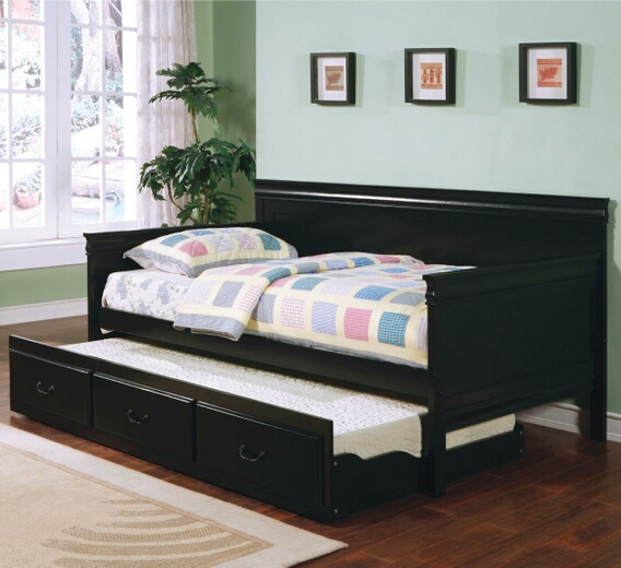 300036BLK Louis Phillip style Black finish wood day bed with slide out trundle made with solid wood and veneers