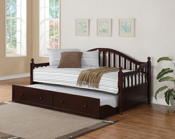 300090 Harriet bee woodhaven 2 pc traditional style black finish wood slatted back style day bed with trundle