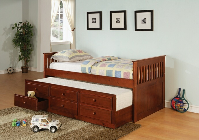 300105 Darby home co canaan 2 pc la salle ii cherry finish wood captains day bed with trundle with drawers