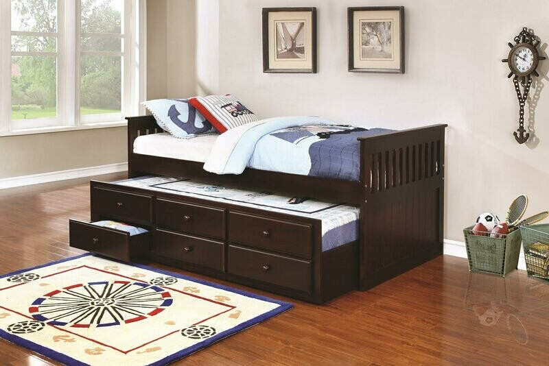300106 Harriet bee scroggins 2 pc la salle ii espresso finish wood captains day bed with trundle with drawers