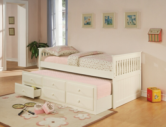 CST300107 2 pc La Salle II collection transitional style white finish wood captains day bed with trundle with drawers
