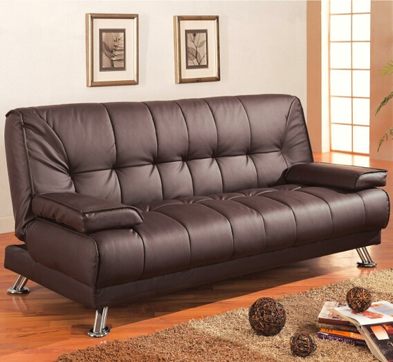 300148 Brown vinyl folding futon sofa bed with removable arms