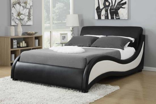 CST300170Q Niguel collection black and white faux leather upholstered queen bed set