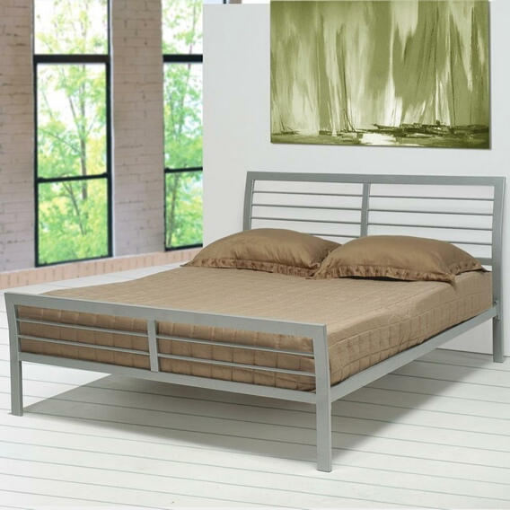CST300201Q Horizontal slat contemporary metal silver finish platform queen bed with supports