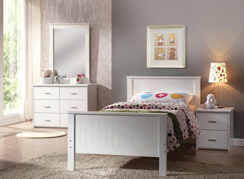 Acme 30025t 4 Pc Bungalow White Finish Wood Twin Bedroom Set