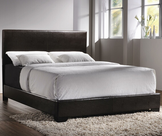 300261Q Dark Brown Faux Leather Upholstered Bed Contemporary Queen Upholstered Low-Profile Bed
