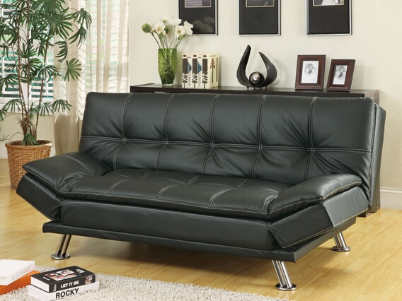 300281 Black finish leather like vinyl folding futon sofa bed with chrome finish legs