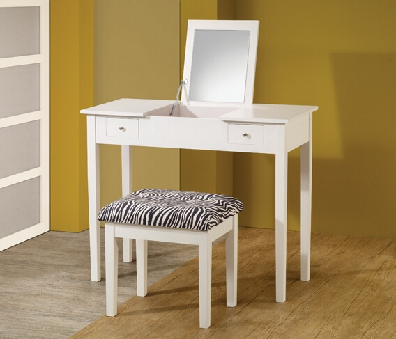 CST300285 2 piece white finish wood make up vanity set with flip top mirror and zebra print stool