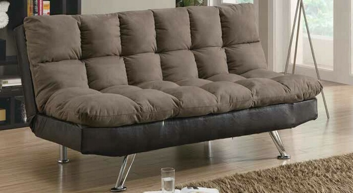CST300306 Flaxen collection two tone brown microfiber and leatherette upholstered folding futon sofa bed with chrome legs