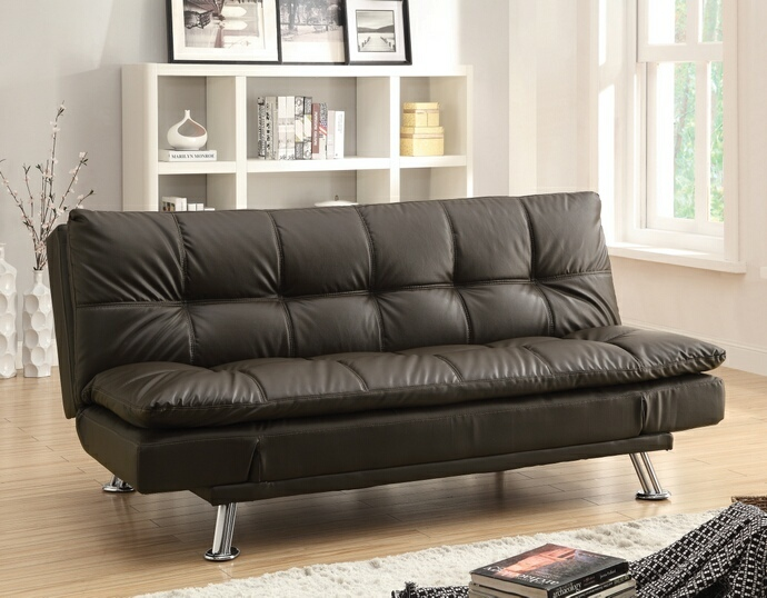 CST300321 Dilleston collection brown leather like vinyl upholstered folding futon sofa bed
