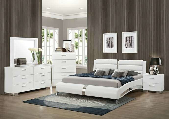 CST300345Q5pc 5 pc felicity ii collection contemporary style glossy white and chrome finish wood queen bedroom set with paneled headboard