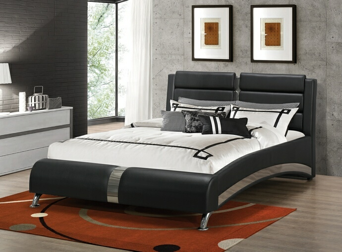 CST300350Q Jeremaine collection contemporary style black leather like vinyl queen size bed set with chrome accents