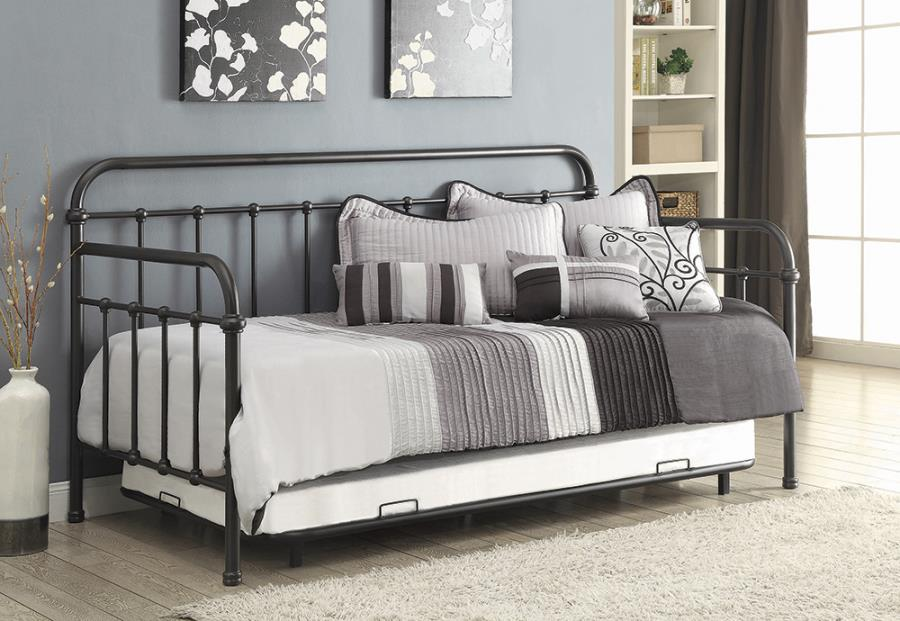 300398 Gracie oaks mayo manor dark bronze metal finish daybed with slide out trundle