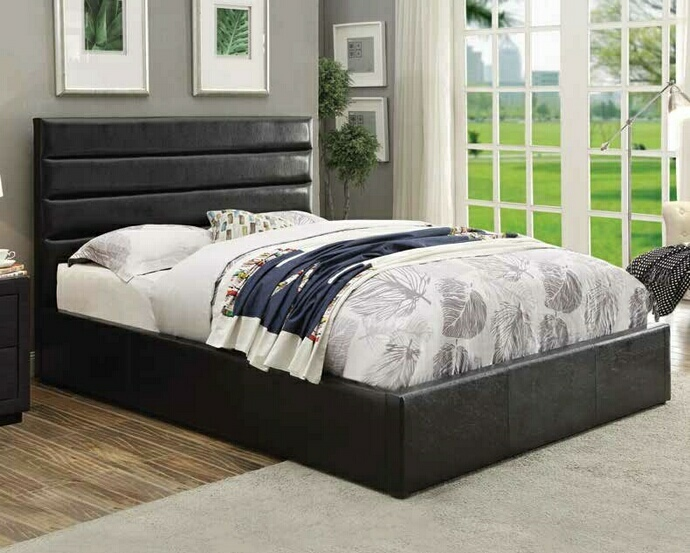CST300469Q Riverbend collection contemporary style black leatherette upholstered queen size bed with storage