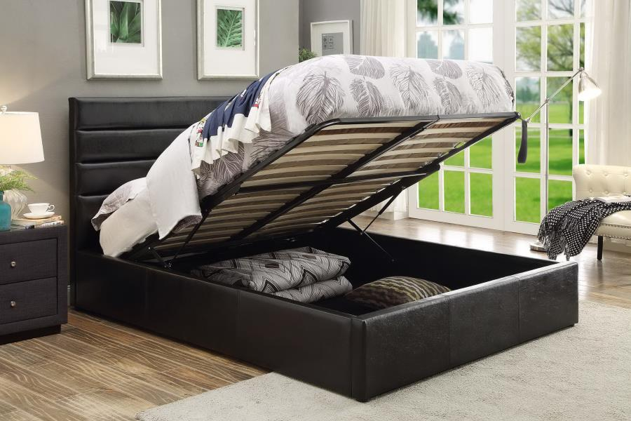 300469F Wade logan sofia riverbend black leatherette full size bed with storage